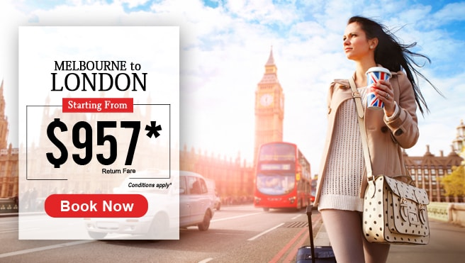 Melbourne to London, BookMyTrip